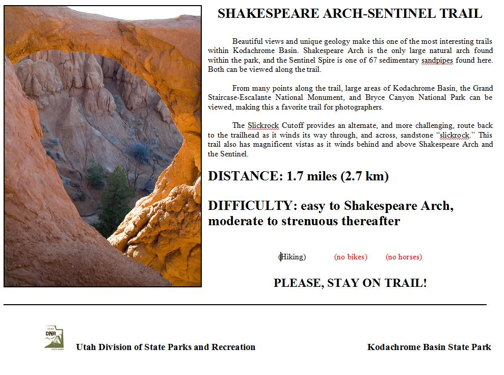 Shakespeare Arch Sentinel Trail Utah State Parks